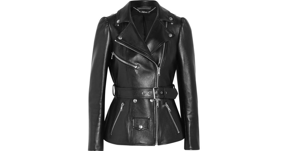 Lyst - Alexander McQueen Belted Leather Biker Jacket in Black 57366c4e8f1
