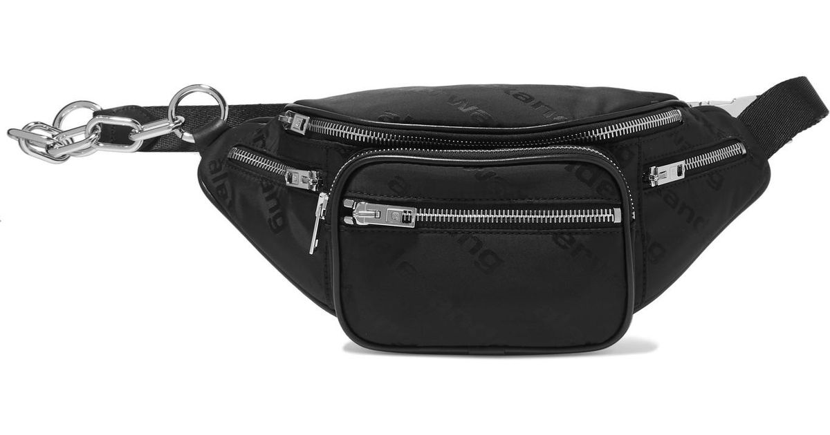 370bd0448 Alexander Wang Attica Leather-trimmed Shell-jacquard Belt Bag in Black -  Lyst