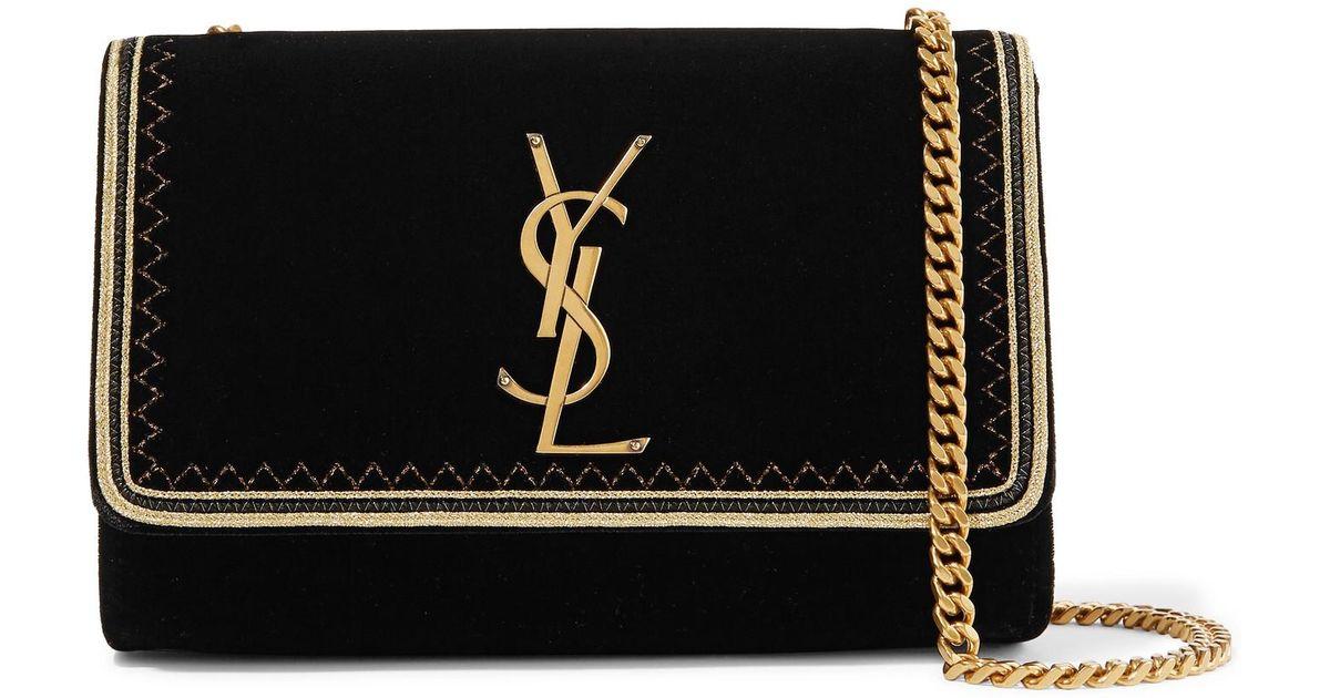 d991aa214471 Lyst - Saint Laurent Monogramme Kate Small Lurex-trimmed Velvet Shoulder Bag  in Black