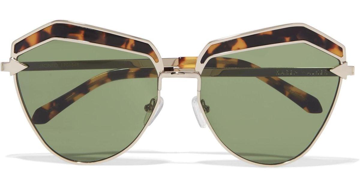 280d62c98c59 Karen Walker Jacinto Cat-eye Acetate And Gold-tone Sunglasses in Green -  Lyst
