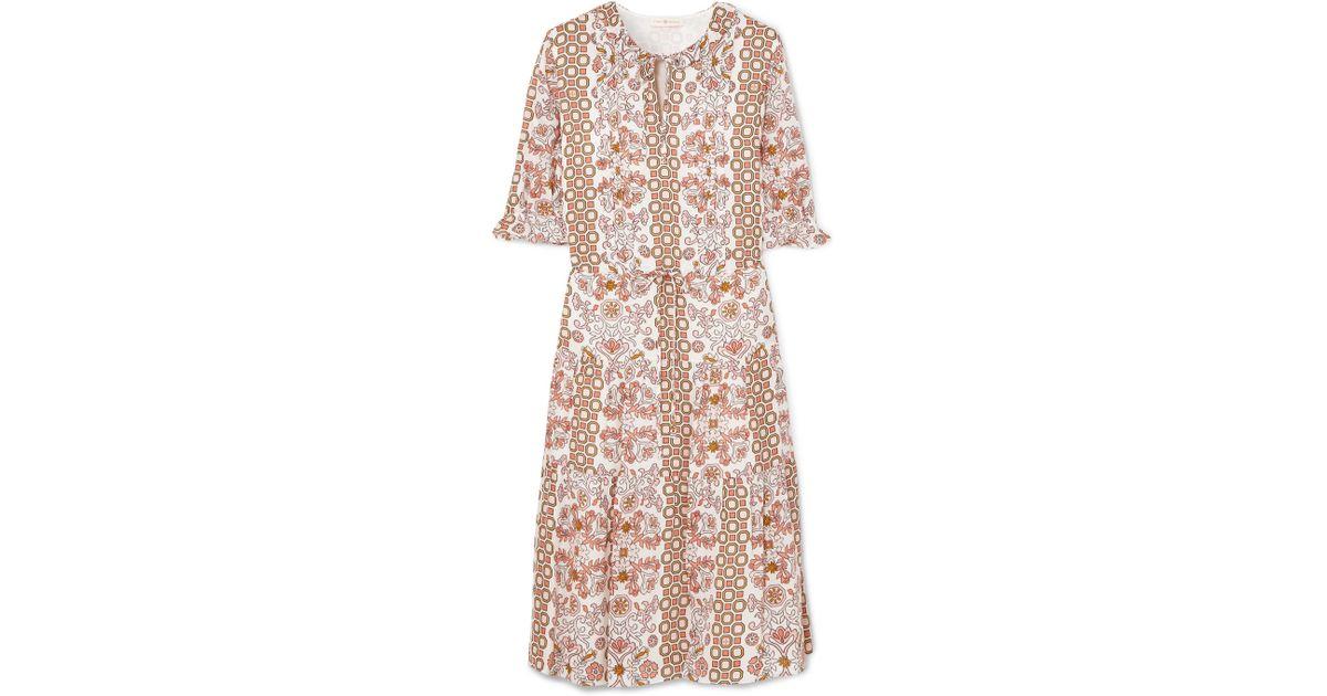 a1335d3e885d4c Lyst - Tory Burch Serena Printed Silk Dress in Natural