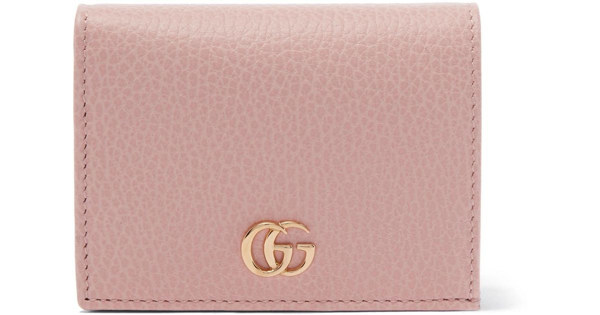 6e56b4cac905 Gucci Marmont Petite Textured-leather Wallet in Pink - Lyst