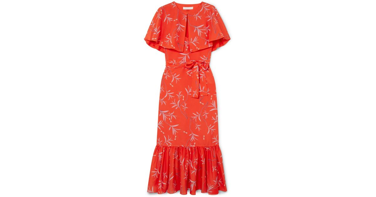 Margarita Cape-effect Floral-print Crepe Maxi Dress - Red Borgo De Nor Discount Explore Clearance Free Shipping Cheap Sale Good Selling Cheap Genuine GXL5FRG