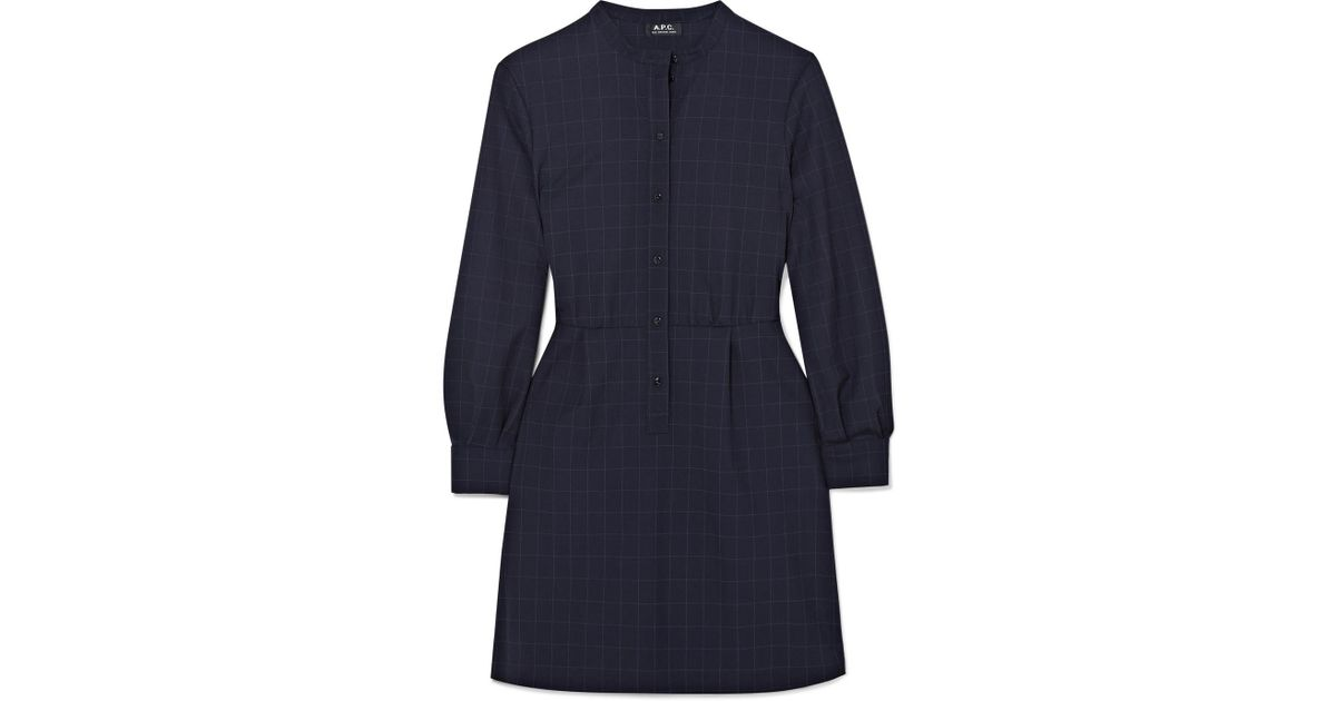 Audrey Checked Crepe Mini Dress - Navy A.P.C.