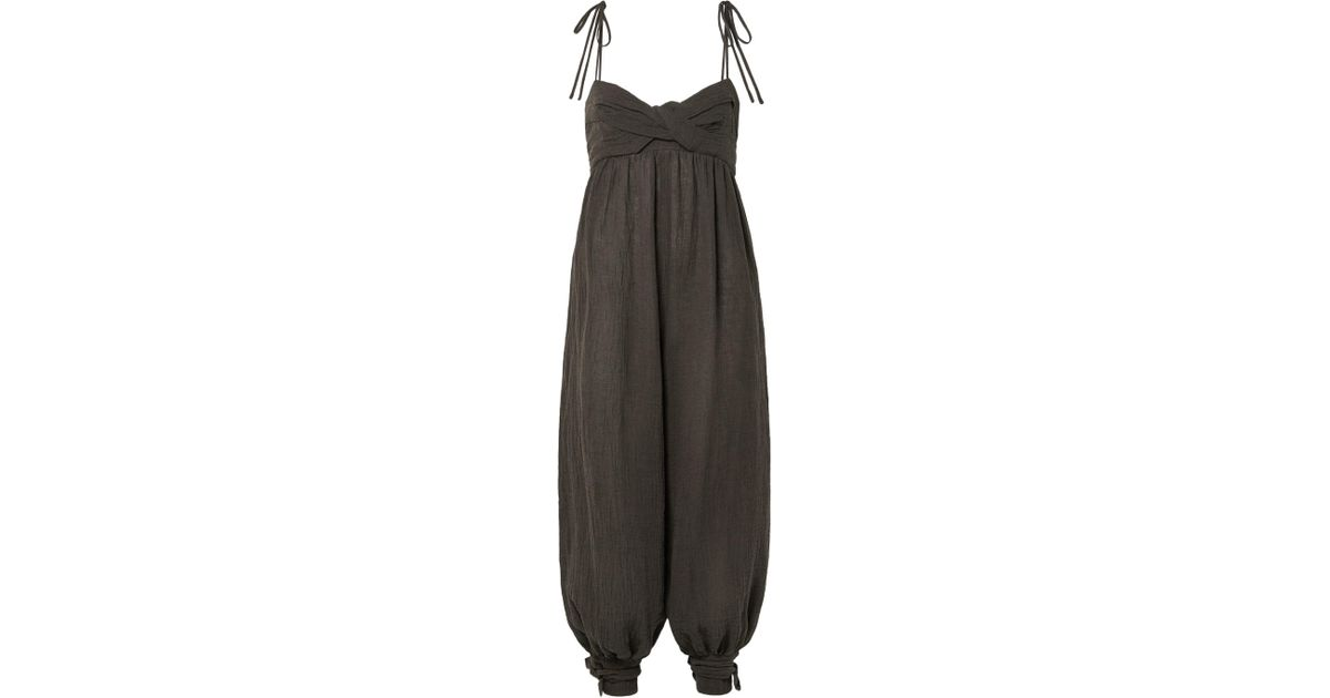 2c93767693b Three Graces London Reed Tie-embellished Crinkled Linen-blend Jumpsuit in  Brown - Lyst