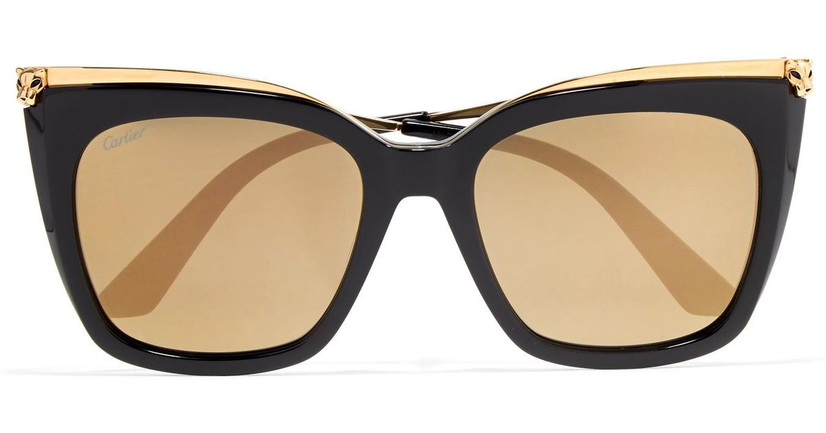 8ba3fd3d17 Cartier Square-frame Acetate And Gold-tone Sunglasses in Black - Lyst