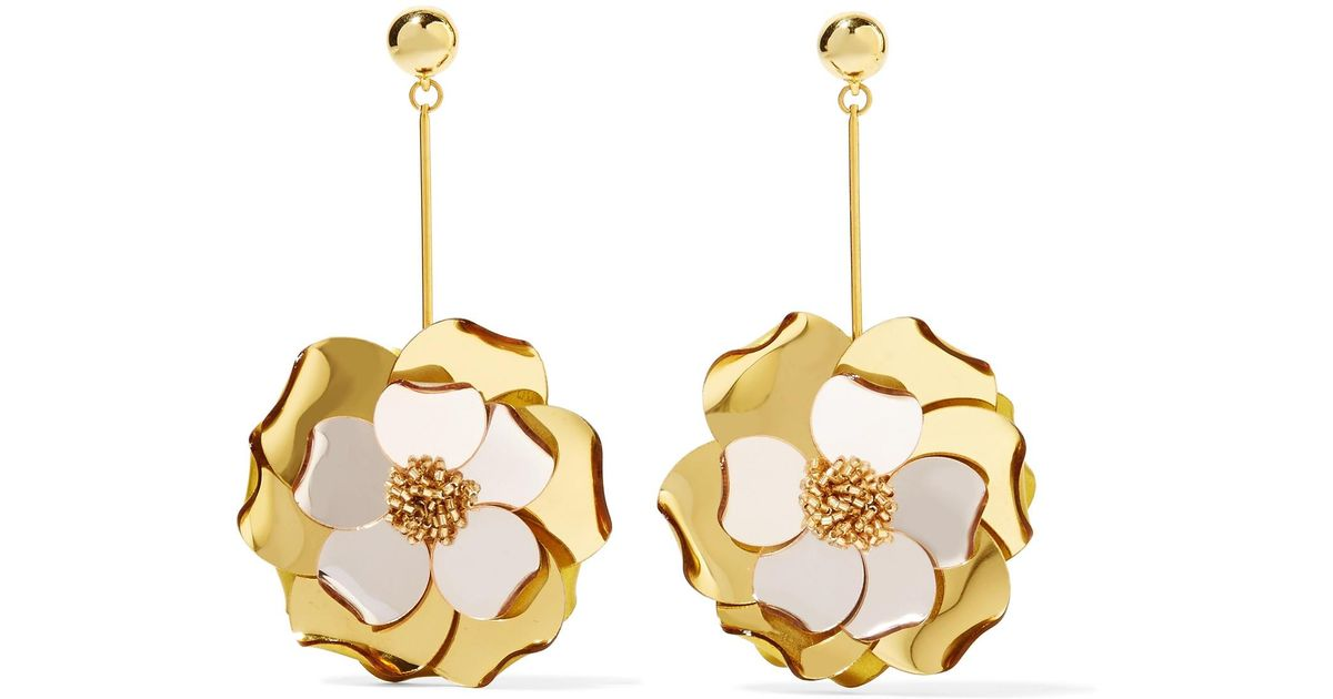 petunia long drop earrings - Metallic Oscar De La Renta