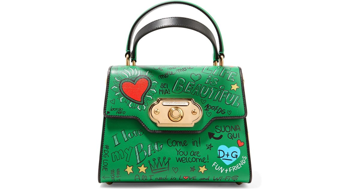 Welcome In Printed Gabbana Small Leather Tote Lyst Dolceamp; Green kwuTXZOilP