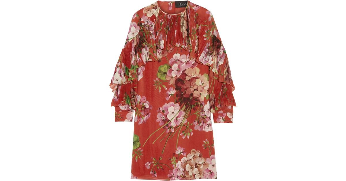 86701d05d Gucci Floral-print Silk-georgette Mini Dress - Lyst