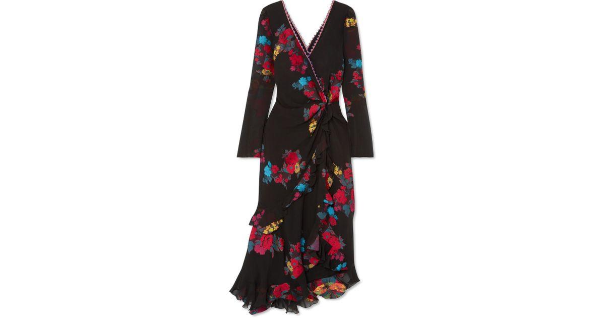 Twist-back Ruffled Asymmetric Silk-blend Jacquard Midi Dress - Black Etro iob1M0