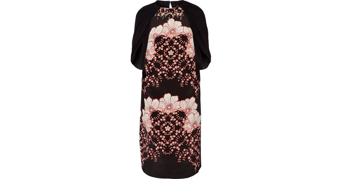 Lasla Embellished Printed Silk-satin And Crepe De Chine Dress - Black Biyan LcQ07CIq
