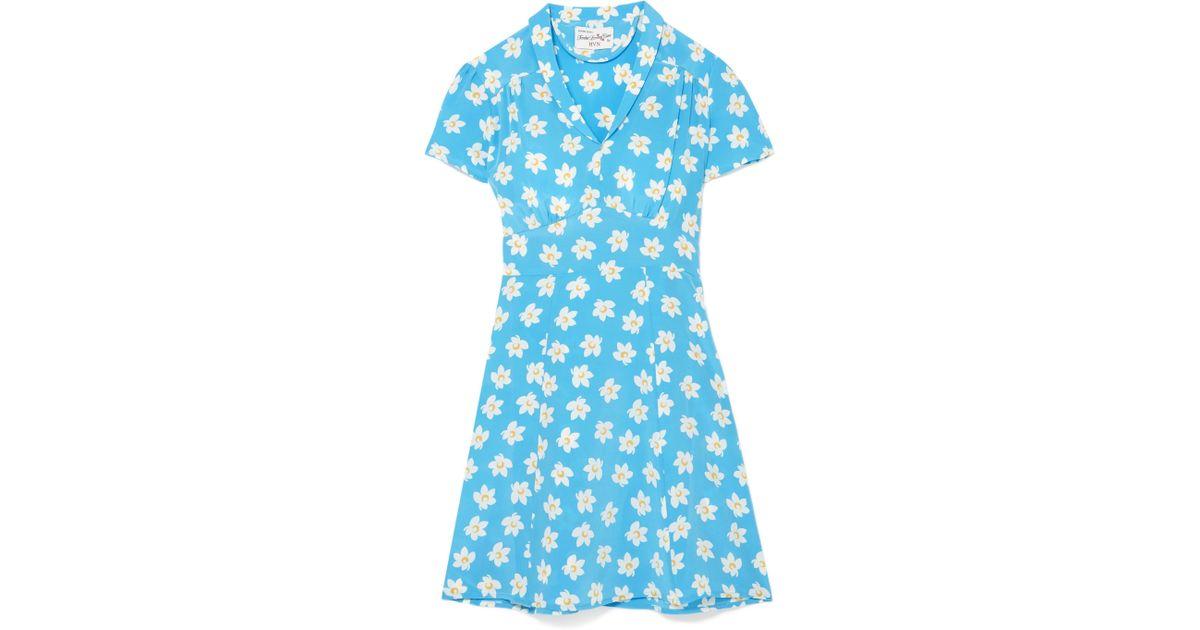Morgan Gingham Silk Crepe De Chine Midi Dress - Blue HVN SiFjug