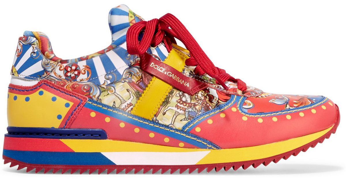 dolce gabbana printed leather sneakers in lyst