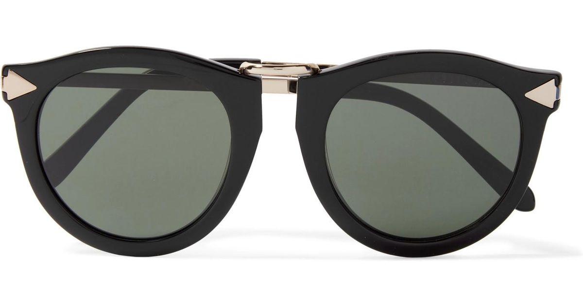 4de88c1a47c2 Karen Walker Harvest Round-frame Acetate And Silver-tone Sunglasses in  Black - Lyst
