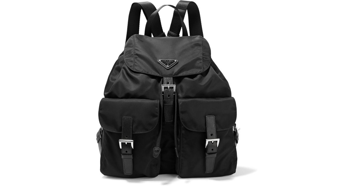 66d5b82d346baa Prada Vela Large Leather-trimmed Shell Backpack in Black - Lyst