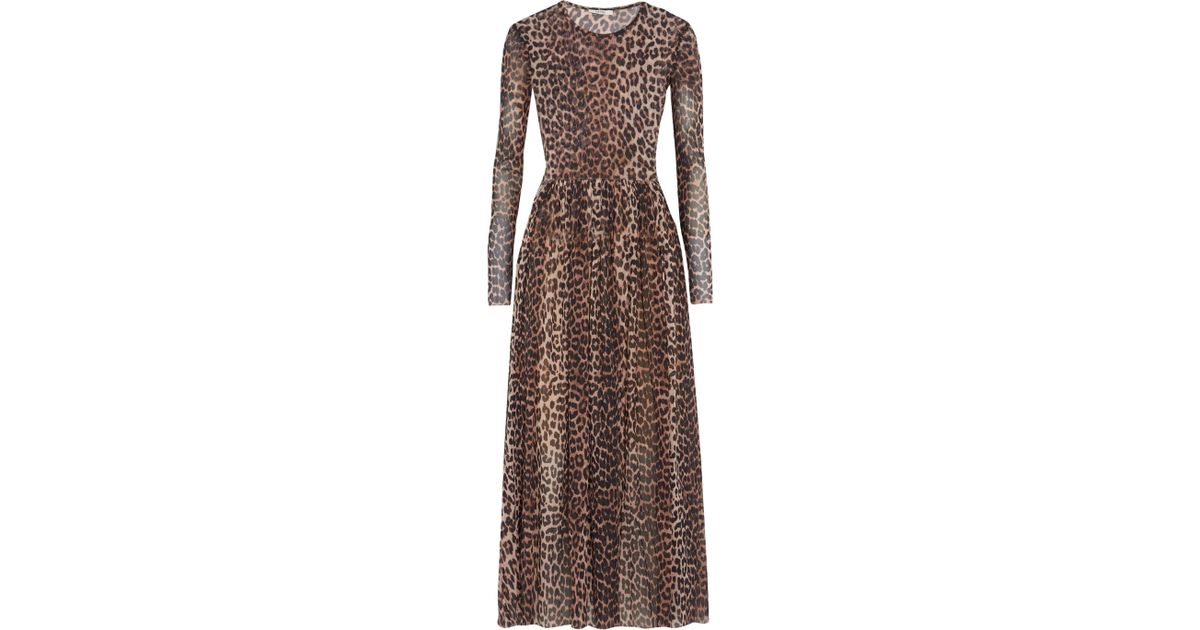 15862ed254c Ganni Tilden Leopard-print Stretch-mesh Dress in Brown - Lyst