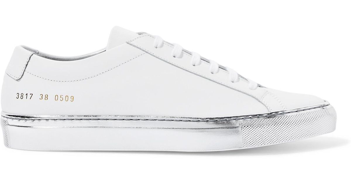 eb5be9f53c409 Lyst - Common Projects Original Achilles Metallic-trimmed Leather Sneakers  in White
