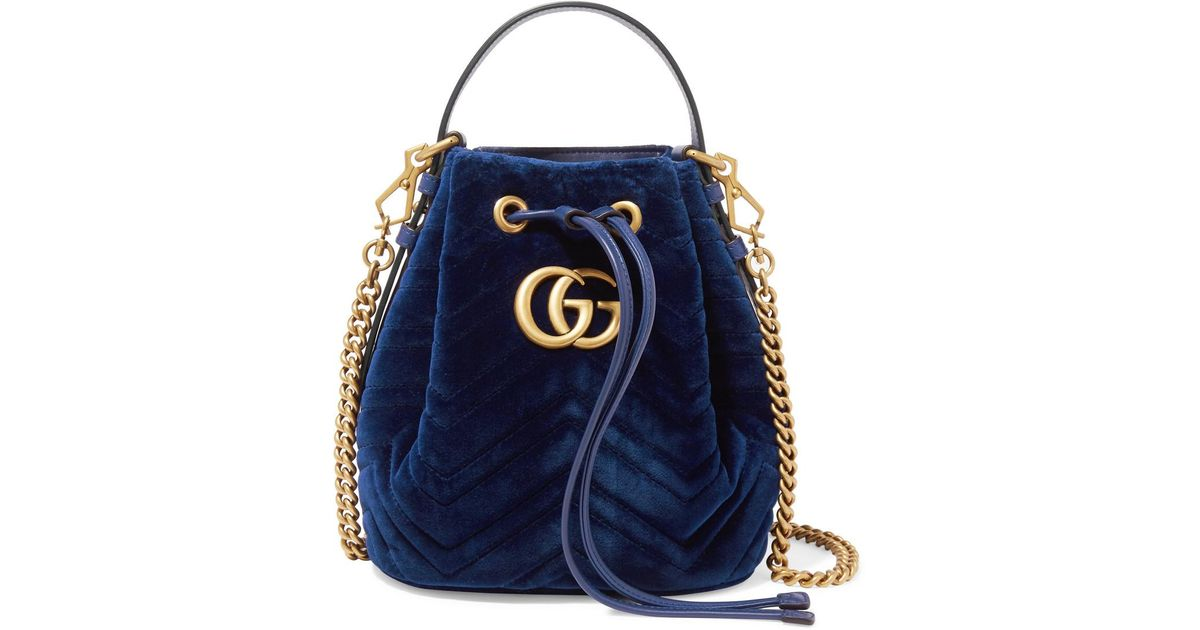 54543678ec4 Lyst - Gucci Gg Marmont Leather-trimmed Quilted Velvet Bucket Bag in Blue