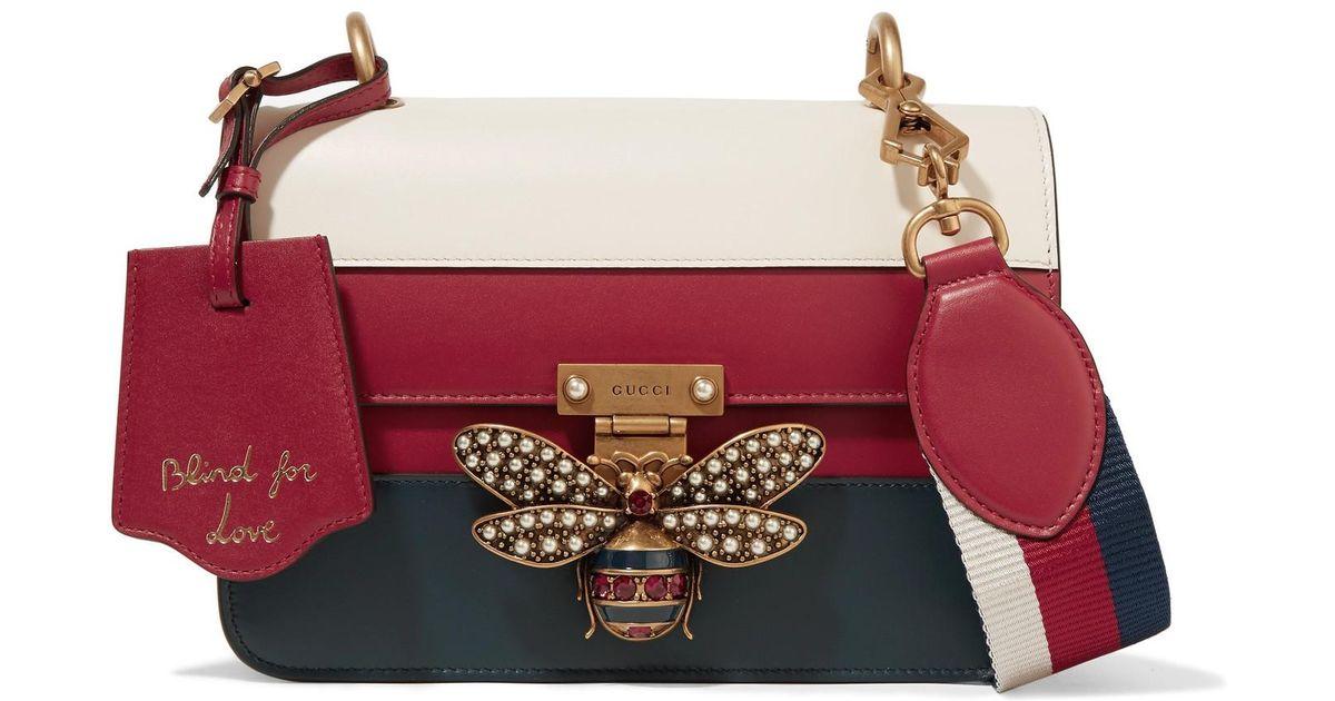 cec9ffb5fef61 Gucci Queen Margaret Embellished Paneled Leather Shoulder Bag in Red - Lyst