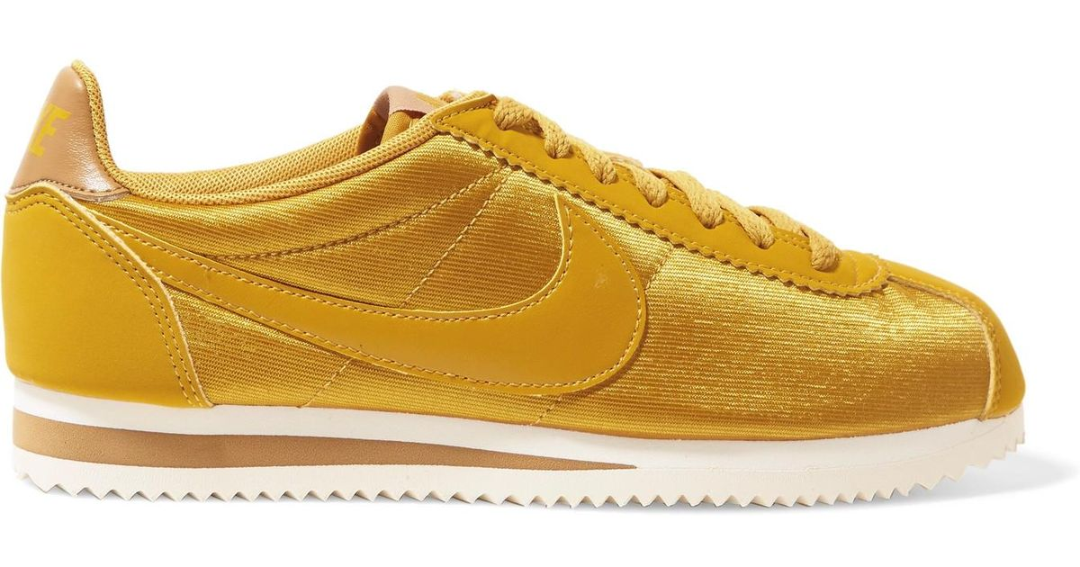 the best attitude 95021 05c7d ... italy nike classic cortez faux nubuck and leather trimmed mesh sneakers  in yellow save 40 lyst