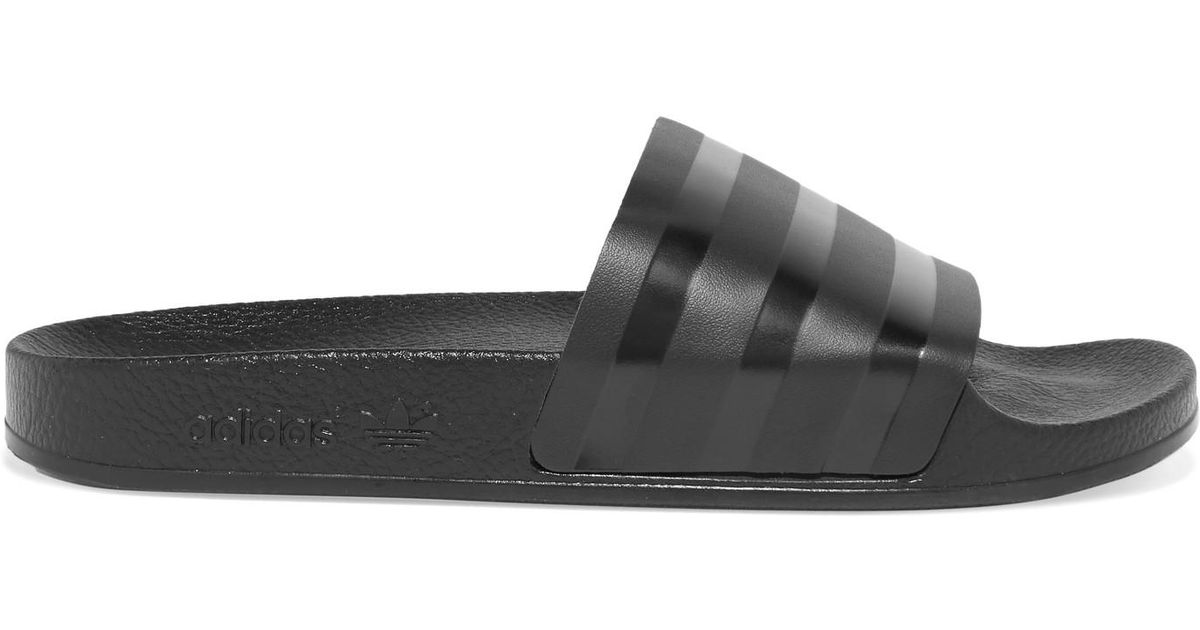 663e459b7ba7 Adilette Striped Black Leather Adidas Slides Originals wg6wdxU