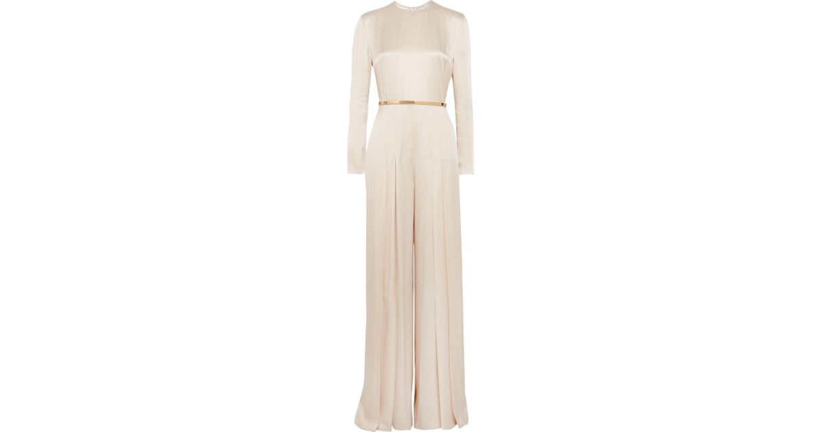 3a179b2f300d Lyst - Stella McCartney Belted Pleated Satin Jumpsuit in Natural