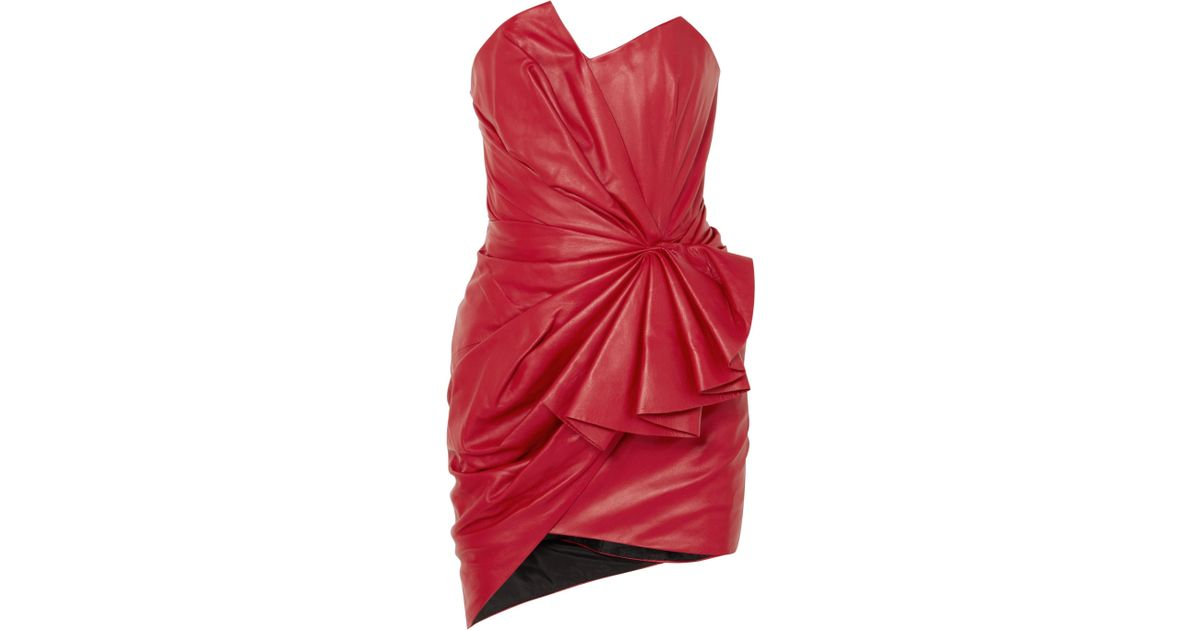 1454f6296a32 Alexandre Vauthier Ruffled Gathered Leather Mini Dress in Red - Lyst
