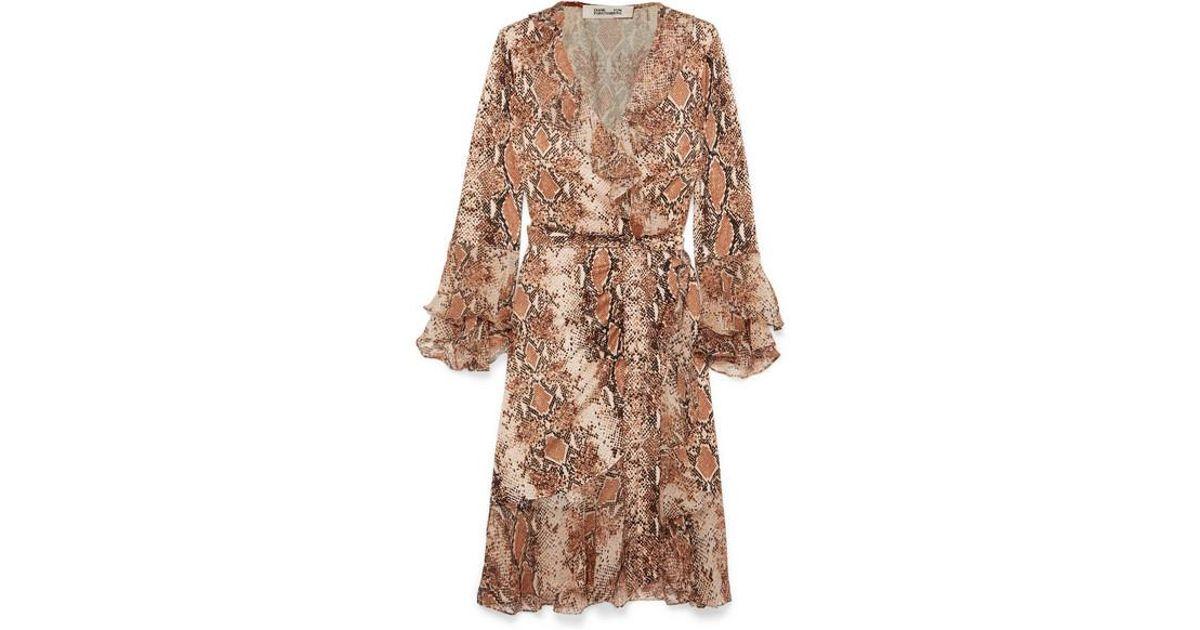 59583ec9faf Diane von Furstenberg Carli Ruffled Snake-print Silk-jersey And Georgette Wrap  Dress in Brown - Lyst