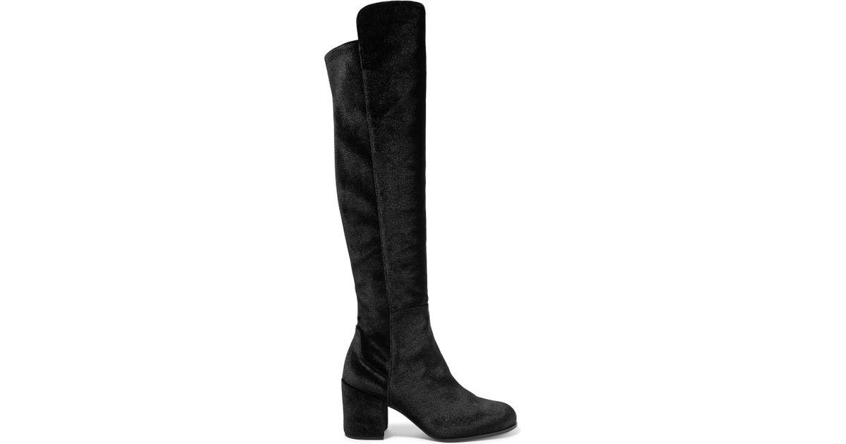 ba46846ce6d Lyst - Stuart Weitzman Lowjack Stretch-velvet Knee Boots in Black