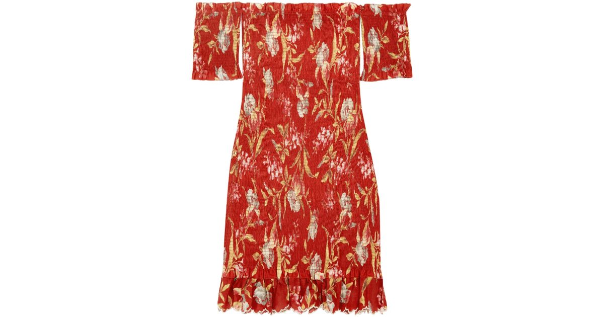 Corsair Off-the-shoulder Shirred Printed Linen And Cotton-blend Dress - Crimson Zimmermann AjCZuUBGB6