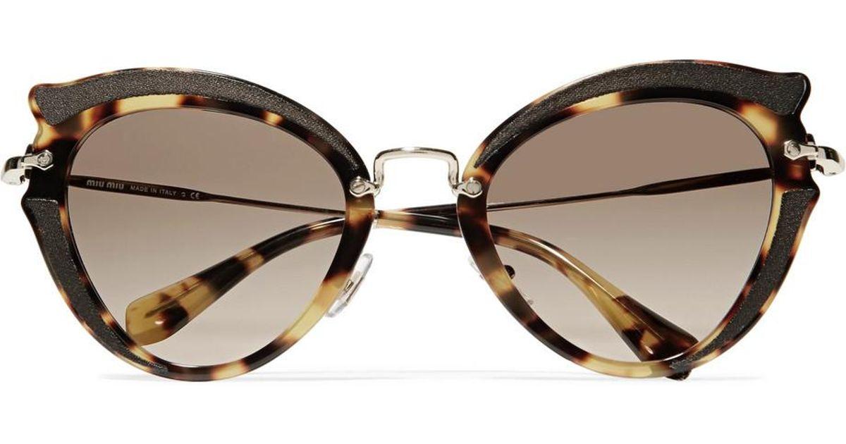 e08870c64a1 Lyst - Miu Miu Cat-eye Canvas-trimmed Acetate And Gold-tone Sunglasses in  Brown