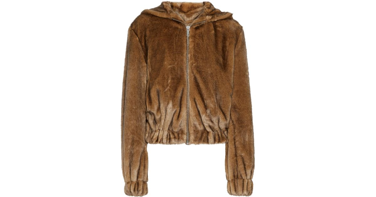 4402381d0 Helmut Lang Faux Fur Hooded Bomber Jacket in Brown - Lyst