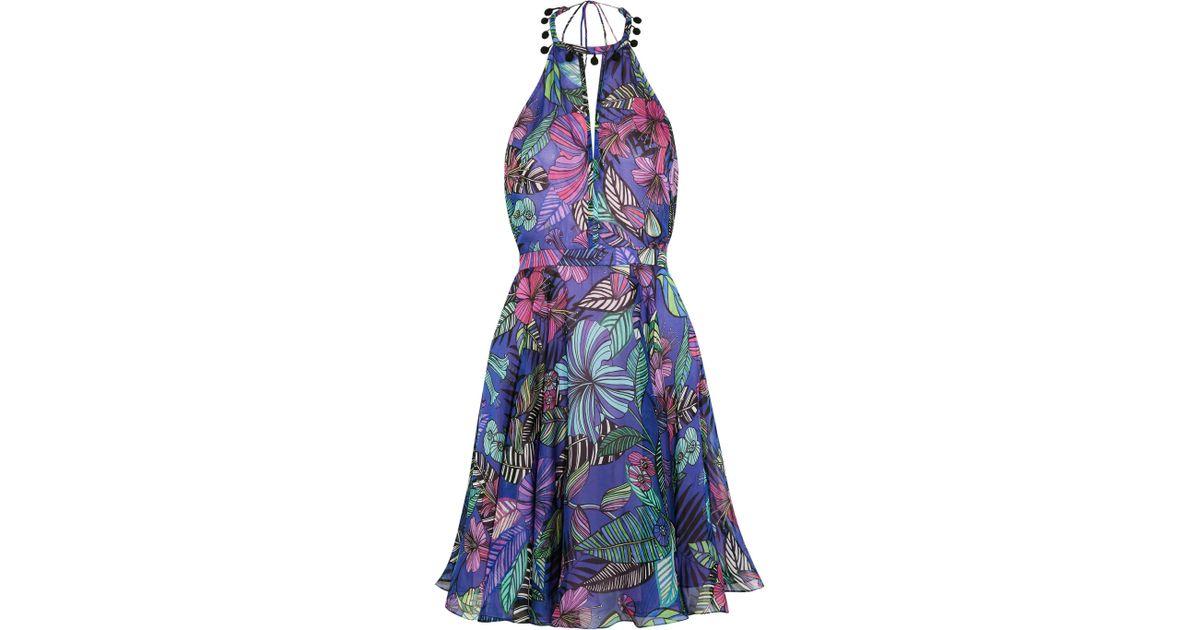 Kantuta Valley Printed Silk-chiffon Halterneck Mini Dress - Indigo Matthew Williamson 1imdX7
