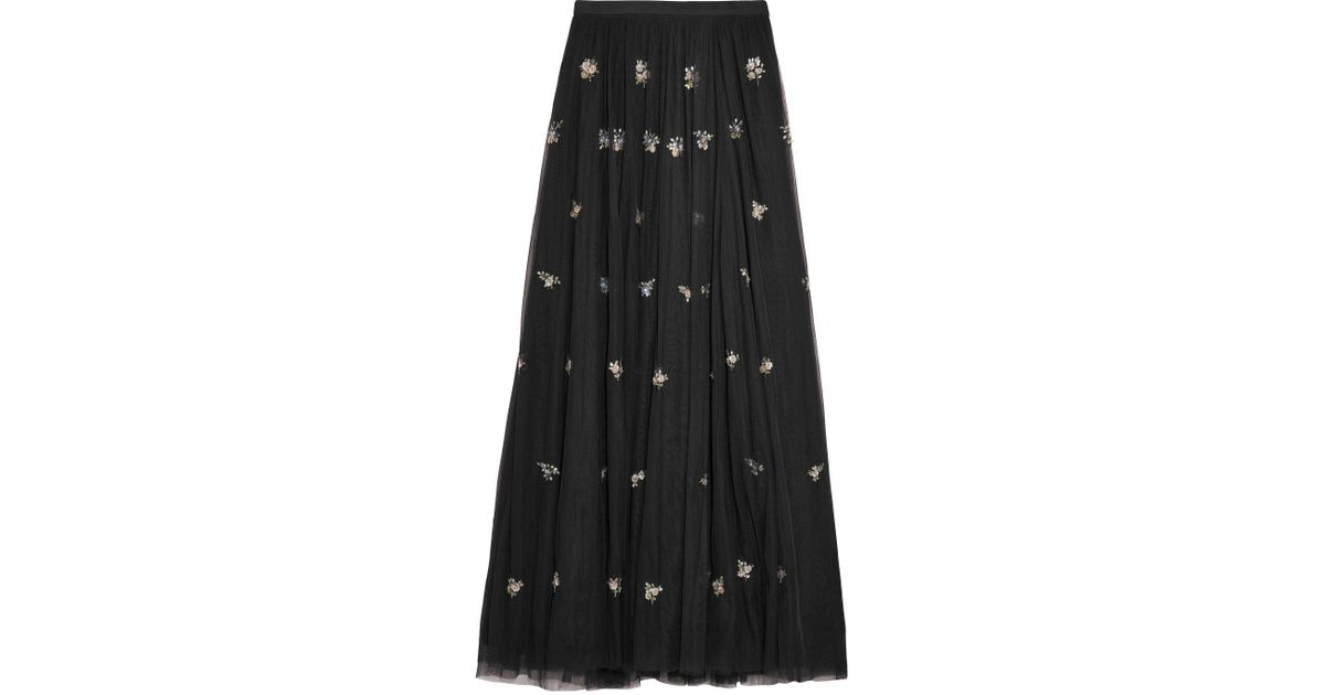 cdb1536c602 Needle   Thread Woman Lumiere Embellished Tulle Maxi Skirt Black in Black -  Lyst
