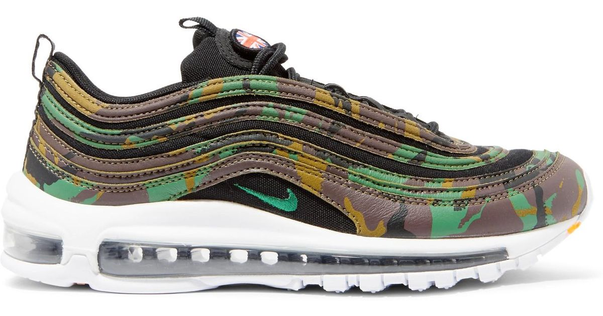 07bc705248 Nike Air Max 97 Country Camo Leather And Canvas Sneakers in Green - Lyst