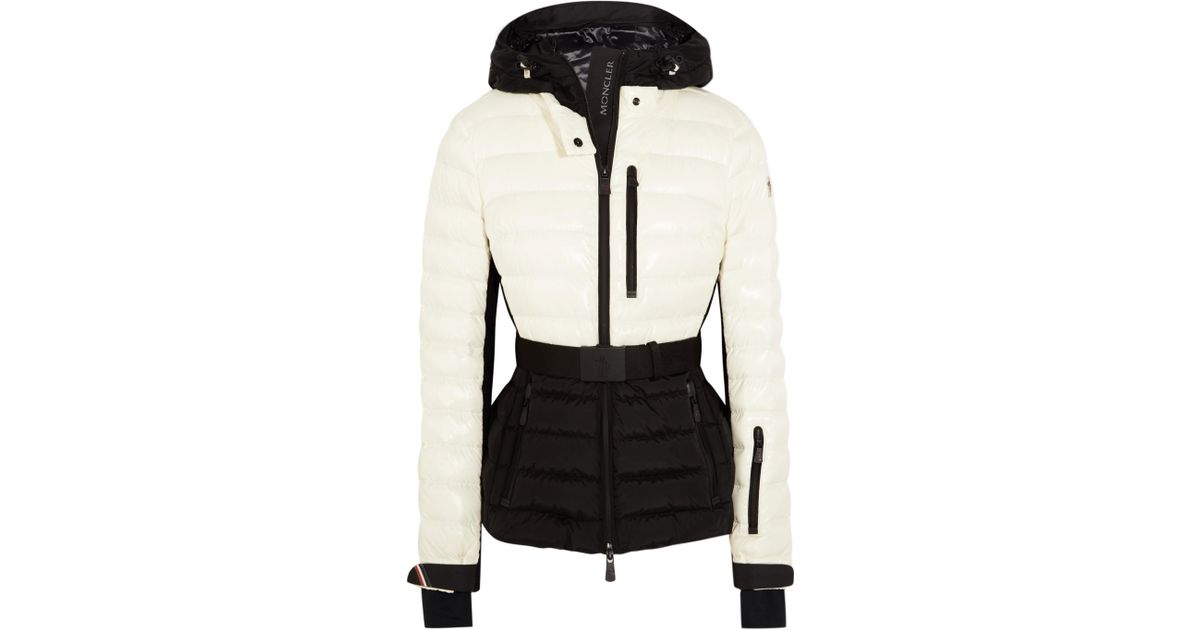 cb4bc1eb13 Moncler Grenoble Bruche Belted Two-tone Quilted Shell Ski Jacket in White -  Lyst