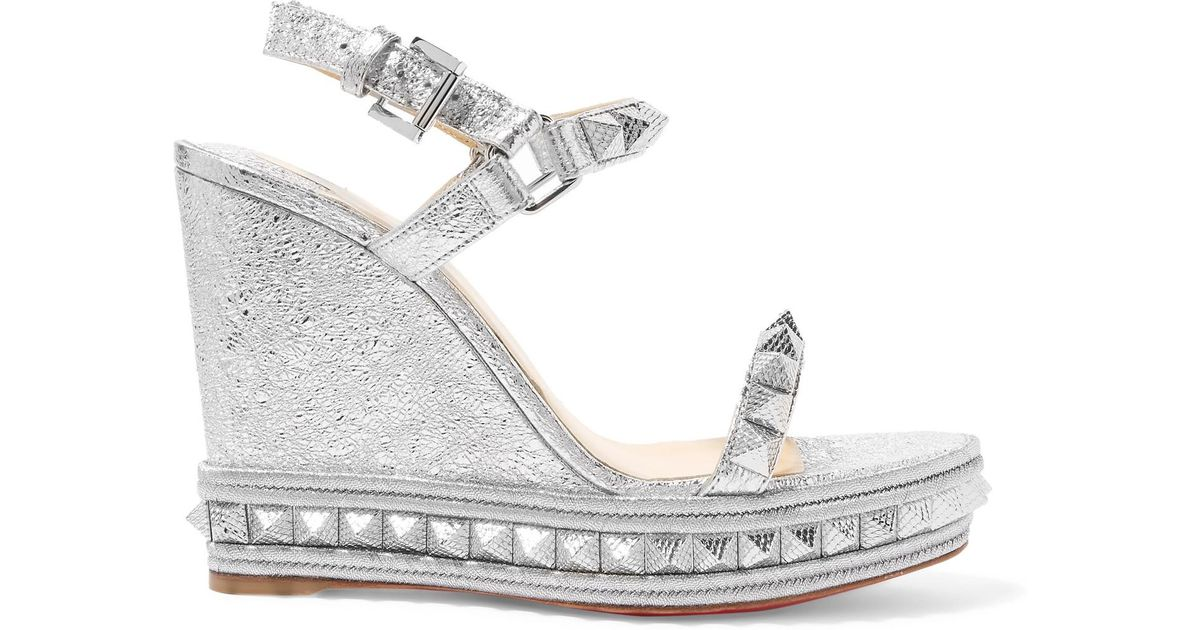 3be6e077fa65 Lyst - Christian Louboutin Pyraclou 110 Spiked Metallic Textured-leather  Wedge Sandals in Metallic