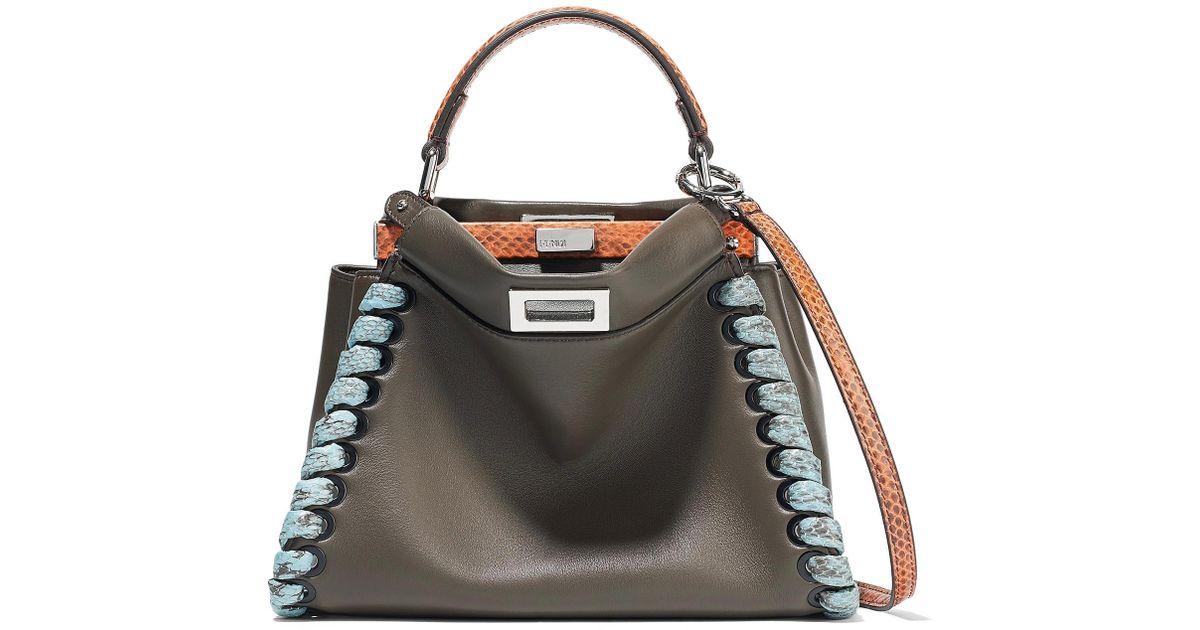 ... discount lyst fendi peekaboo mini elaphe trimmed leather shoulder bag  7ef5b fb0bb ... 1ab1dada3214f