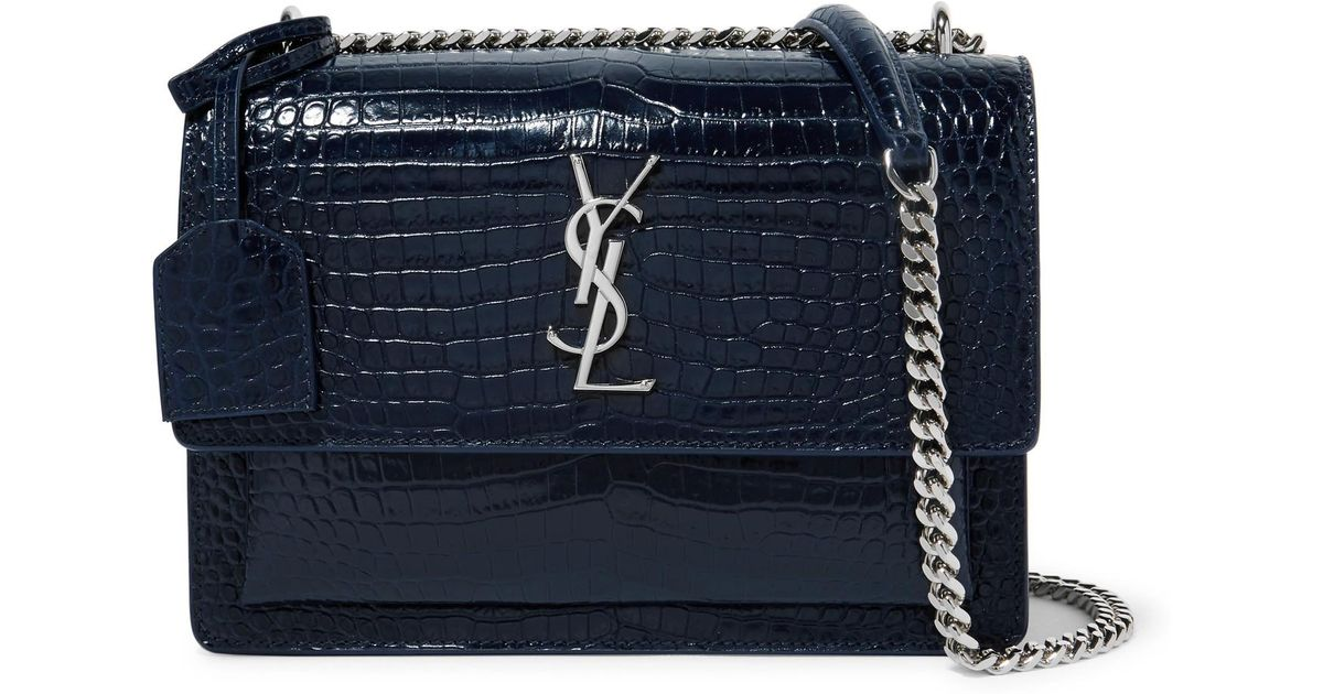 f0986c3296a0 Lyst - Saint Laurent Sunset Croc-effect Glossed-leather Shoulder Bag in Blue
