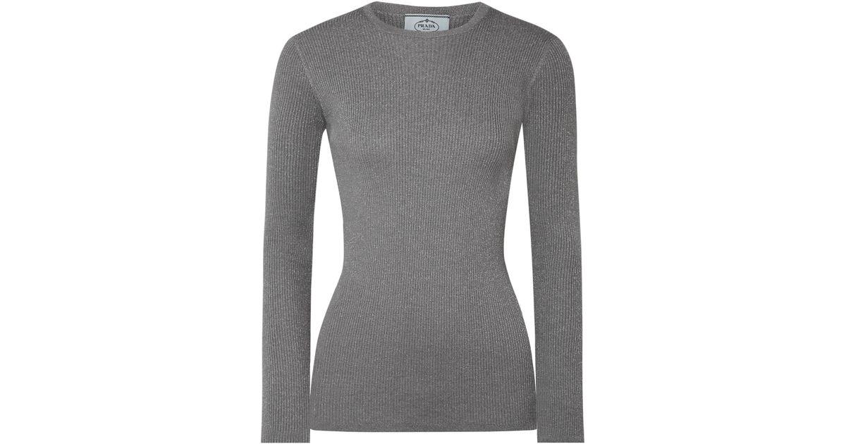 acanalada Prada de metalizado plateado lana Suéter mezcla de IgUwxHnvqF