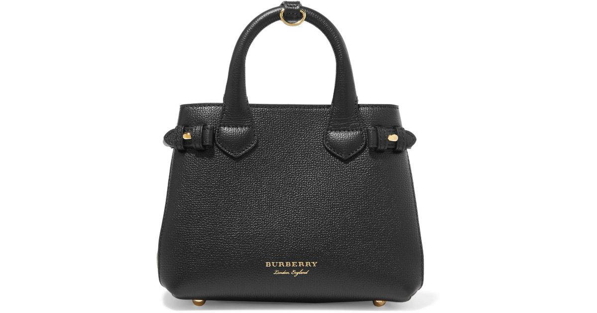 837a8068bbf5 Burberry Textured-leather And Checked Canvas Tote in Black - Save  14.504716981132077% - Lyst