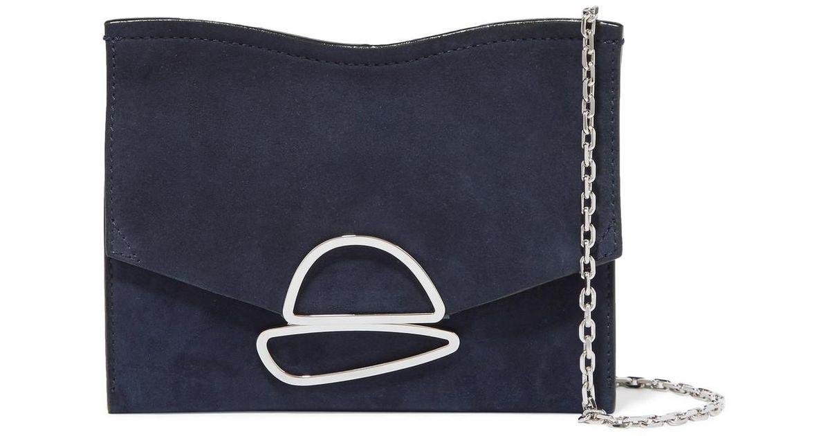 Curl Small Embellished Suede Shoulder Bag - Indigo Proenza Schouler NQmjJl3