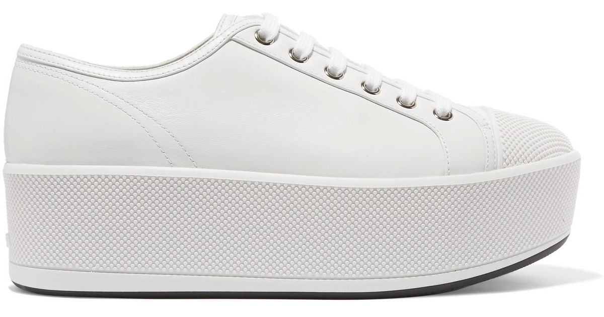 17407b3ce95 Prada Linea Rossa Leather Platform Sneakers in White - Lyst