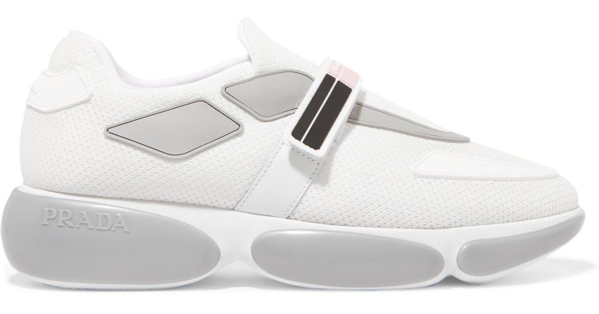 Cloudbust Allacciate Logo-embossed Rubber And Leather-trimmed Mesh Sneakers - Silver Prada Latest For Sale Sale Clearance Store Visit Discount Deals Find Great Sale Online 4ipwn