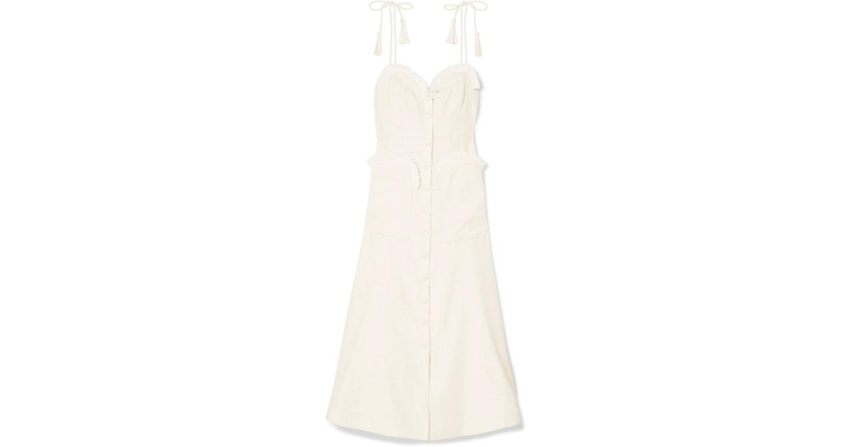 Girls On Film Raffia-trimmed Woven Midi Dress - Cream Alice McCall WPWHYjxoD