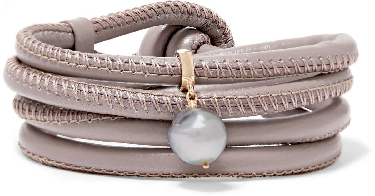 Mizuki Convertible Leather, 14-karat Gold And Pearl Bracelet