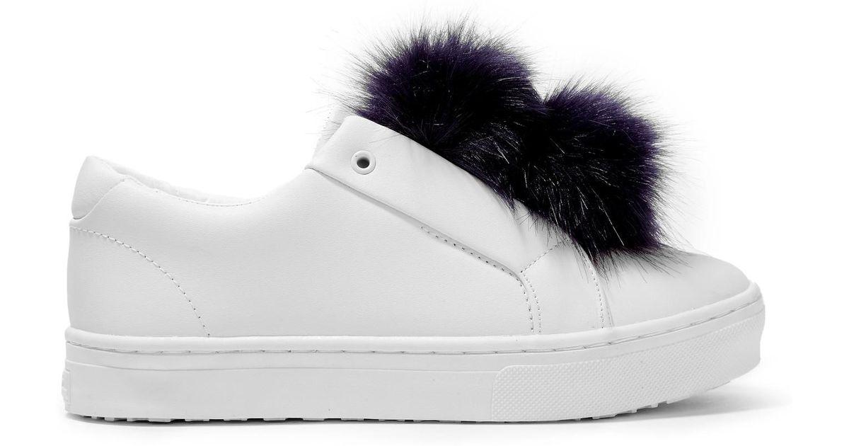 8cdddd6b7ad4d9 Lyst - Sam Edelman Leya Faux Fur-trimmed Leather Slip-on Sneakers in White