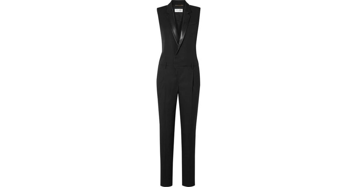 2e0fd9192e5 Saint Laurent Leather-trimmed Grain De Poudre Wool Jumpsuit in Black - Save  57% - Lyst