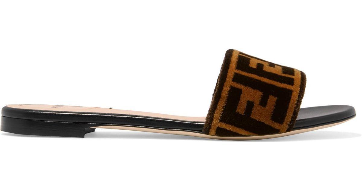 b6788bb8d37 Fendi Logo-print Velvet Slides in Brown - Lyst