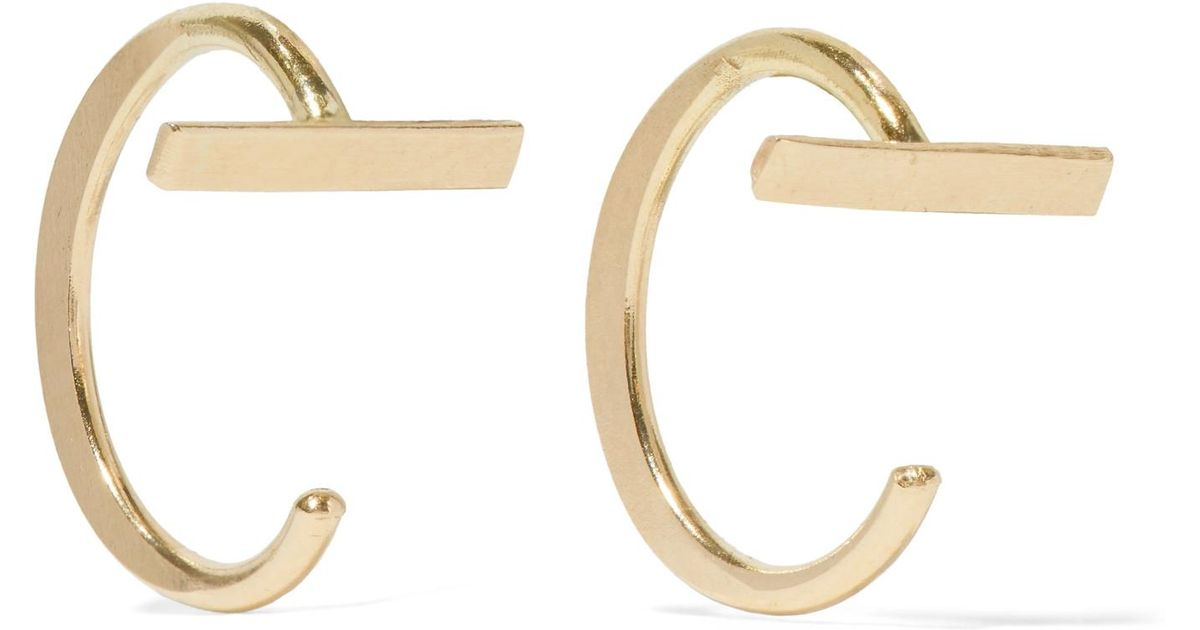 Lyst Melissa Joy Manning 14 Karat Gold Hoop Earrings In Metallic